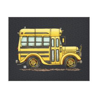 かわいいスクールバス キャンバスプリント