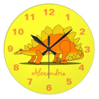 かわいいステゴサウルスの恐竜の名前入りな子供の時計 ラージ壁時計
