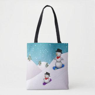かわいいスノーボードの雪だるまの全にプリントのトートバック トートバッグ