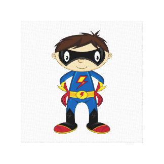 かわいいスーパーヒーローの男の子 キャンバスプリント