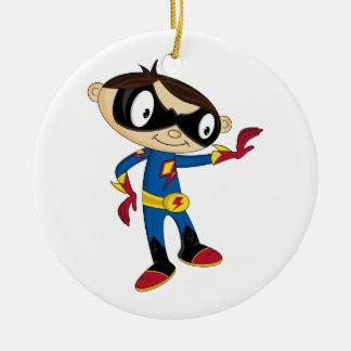 かわいいスーパーヒーローの男の子 セラミックオーナメント