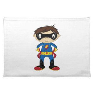 かわいいスーパーヒーローの男の子 ランチョンマット