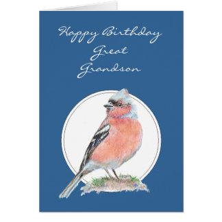 かわいいズアオアトリ、誕生日のひ孫 カード