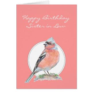 かわいいズアオアトリ、誕生日の義理の姉妹 カード