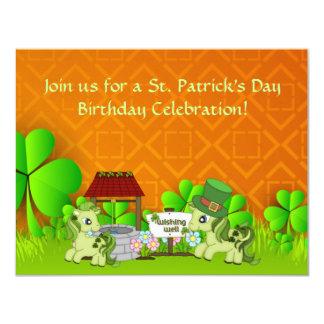 かわいいセントパトリックの日の馬の誕生日の招待状 カード