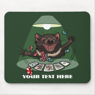 かわいいタスマニアンデビルの王室のなフラッシュトランプのポーカーの漫画 マウスパッド