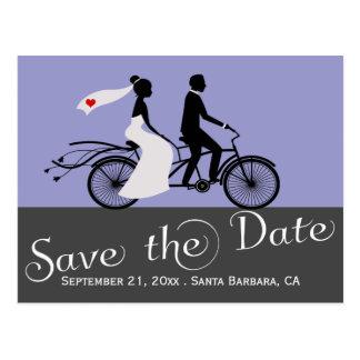 かわいいタンデムバイクの新郎新婦の結婚式 はがき
