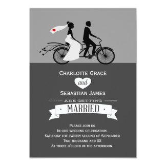 かわいいタンデムバイクの新郎新婦の結婚式 カード