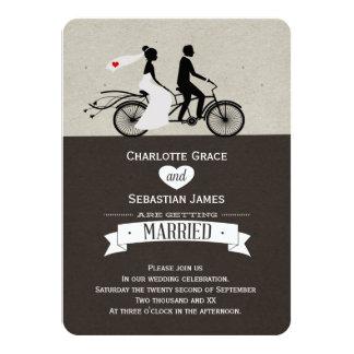 かわいいタンデムバイクの新郎新婦の結婚式 11.4 X 15.9 インビテーションカード