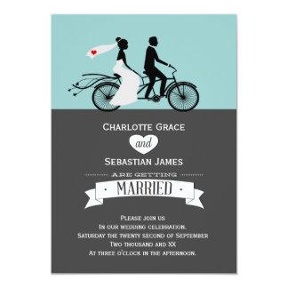 かわいいタンデムバイクの新郎新婦の結婚式 12.7 X 17.8 インビテーションカード