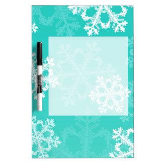 かわいいターコイズおよびホワイトクリスマスの雪片 ホワイトボード