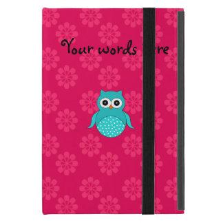 かわいいターコイズのフクロウのピンクの花 iPad MINI ケース