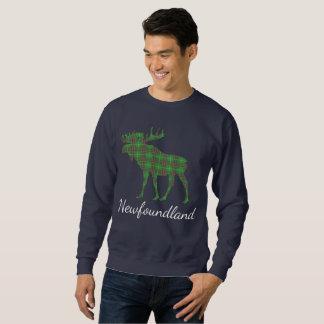 かわいいタータンチェックのアメリカヘラジカのニューファウンドランドのワイシャツのセーター スウェットシャツ