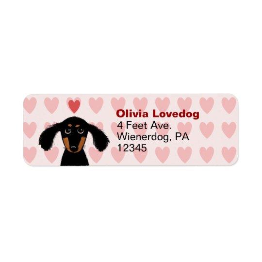 かわいいダックスフントのバレンタイン愛差出人住所 返信用宛名ラベル