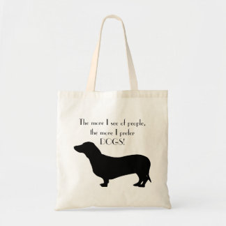 かわいいダックスフント犬の黒のシルエットの引用語句 トートバッグ