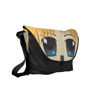 かわいいチビ(小さくかわいく書いた感じ)の青い目 メッセンジャーバッグ