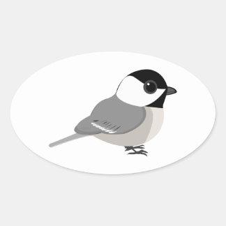 かわいいチビ(小さくかわいく書いた感じ)の《鳥》アメリカゴガラ 楕円形シール