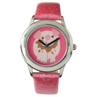 かわいいチョコレート漫画のブタの腕時計 腕時計