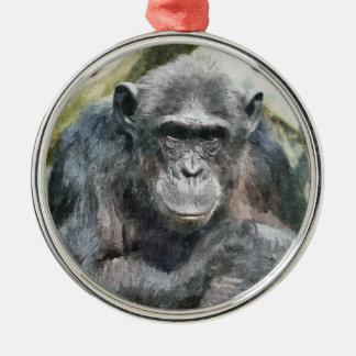 かわいいチンパンジー メタルオーナメント