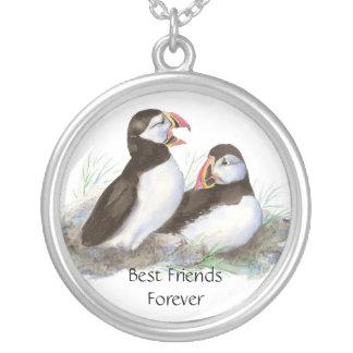 かわいいツノメドリ、永久に親友、BFFの鳥 シルバープレートネックレス