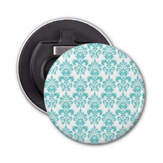 かわいいティール(緑がかった色)の白いヴィンテージのダマスク織パターン2 栓抜き