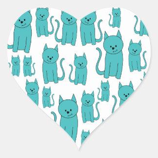 かわいいティール(緑がかった色)猫 ハートシール