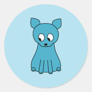 かわいいティール(緑がかった色)猫 ラウンドシール