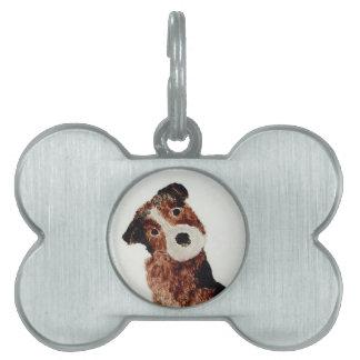 かわいいテリア犬の芸術 ペットネームタグ