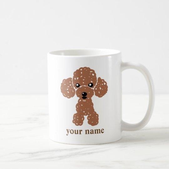 かわいいトイプードル(濃茶)名入れ コーヒーマグカップ