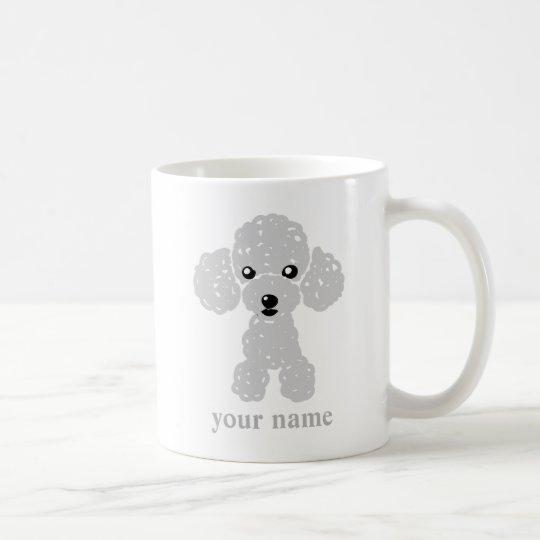 かわいいトイプードル(白)名入れ コーヒーマグカップ