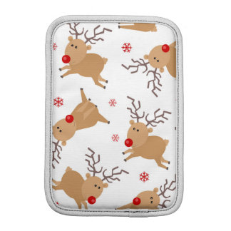 かわいいトナカイの休日パターン白く赤い雪片 iPad MINIスリーブ