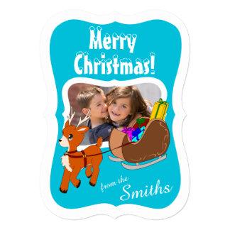 かわいいトナカイの名前入りなクリスマスの写真カード 12.7 X 17.8 インビテーションカード