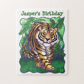 かわいいトラの名前入りな誕生会のパズル ジグソーパズル