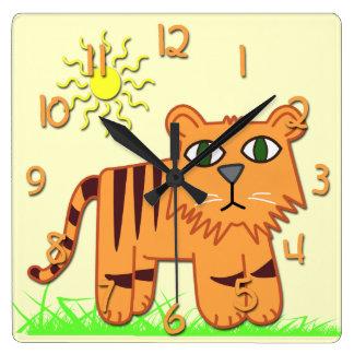 かわいいトラの子供の正方形の柱時計 スクエア壁時計