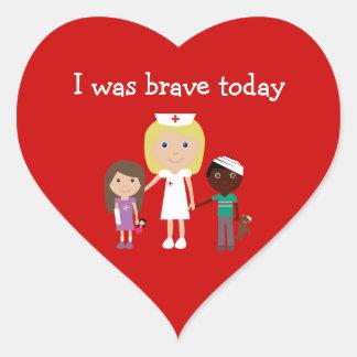 かわいいナース及び子供私は勇敢な今日の赤でした ハートシール