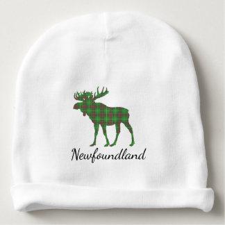 かわいいニューファウンドランドのアメリカヘラジカのタータンチェックのベビーの帽子 ベビービーニー