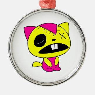 かわいいネオンゾンビの子猫猫 メタルオーナメント