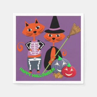 かわいいハッピーハローウィンのパーティー猫 スタンダードカクテルナプキン