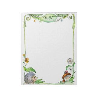 かわいいハリネズミのきのこの水彩画の絵画 ノートパッド