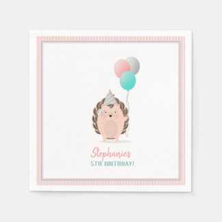 かわいいハリネズミの誕生日 スタンダードカクテルナプキン