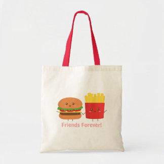 かわいいハンバーガーおよび揚げ物の永久に友人 トートバッグ