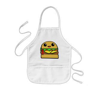 かわいいハンバーガーのキャラクター 子供用エプロン