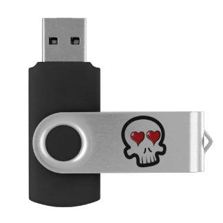 かわいいハートのスカルの漫画 USBフラッシュドライブ