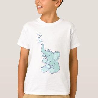 かわいいハートの泡象の青い女の子のTシャツ Tシャツ