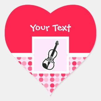 かわいいバイオリン ハートシール