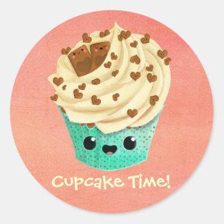 かわいいバニラチョコレートカップケーキ ラウンドシール