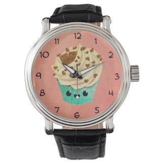 かわいいバニラチョコレートカップケーキ 腕時計