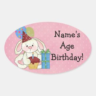 かわいいバニーの誕生日のステッカー 楕円形シール