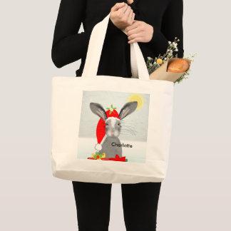 かわいいバニーウサギのクリスマスの休日のテーマ ラージトートバッグ