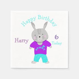かわいいバニーウサギのテーマの誕生会 スタンダードカクテルナプキン